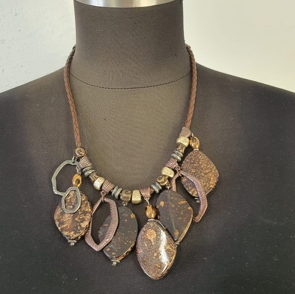 Chico's Brown Gold Dangling Necklace